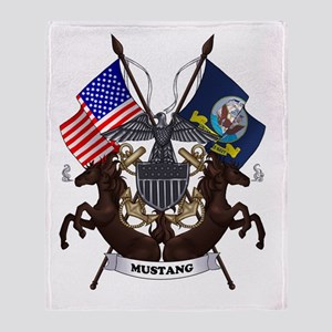 Navy Mustang Emblem Throw Blanket
