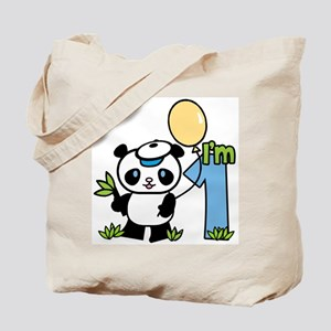 Lil' Panda Boy First Birthday Tote Bag