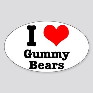 I Heart (Love) Gummy Bears Oval Sticker