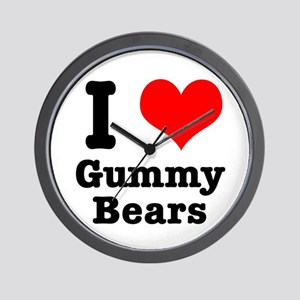 I Heart (Love) Gummy Bears Wall Clock