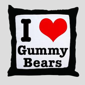 I Heart (Love) Gummy Bears Throw Pillow