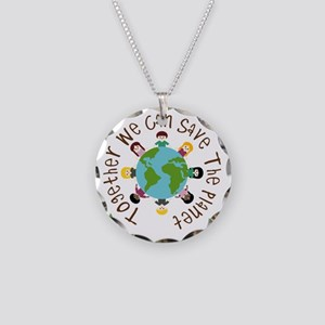 Together Save the Planet Necklace Circle Charm
