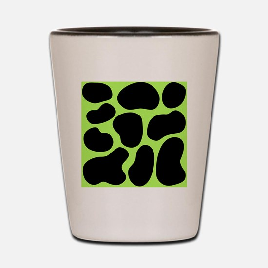 Black and Green Cow Print. Shot Glass
