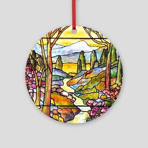 Tiffany Landscape Window Round Ornament