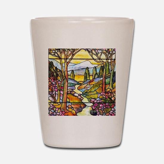 Tiffany Landscape Window Shot Glass