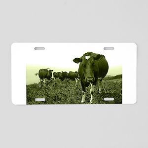 Annoyed cow Aluminum License Plate