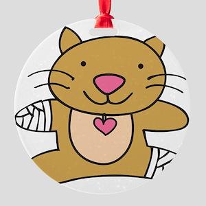 Hurt Kitty Round Ornament