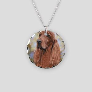 Irish Setter by Dawn Secord Necklace Circle Charm