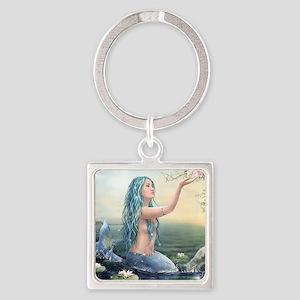 Beautiful Mermaid Square Keychain
