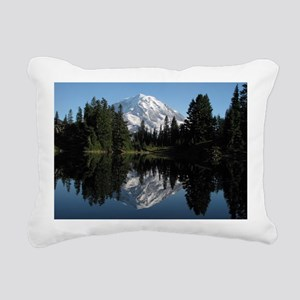 Mt. Rainier reflection 1 Rectangular Canvas Pillow