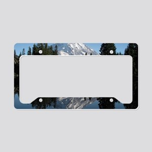 Mt. Rainier reflection 1 License Plate Holder