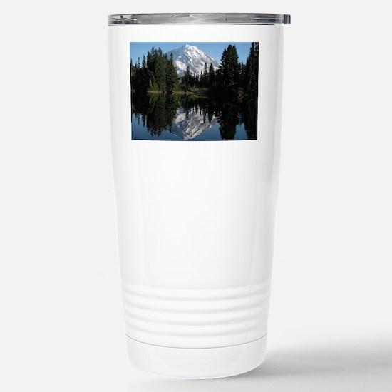 Mt. Rainier reflection  Stainless Steel Travel Mug