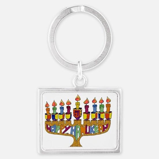 Happy Hanukkah Dreidel Menorah Landscape Keychain
