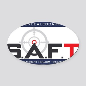 SAFT Color Logo with Web Address Oval Car Magnet