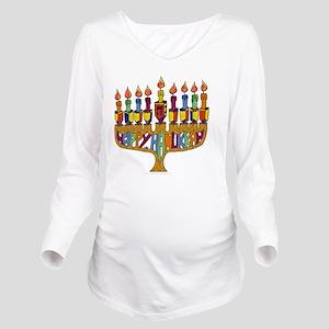 Happy Hanukkah Dreid Long Sleeve Maternity T-Shirt