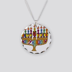 Happy Hanukkah Dreidel Menor Necklace Circle Charm