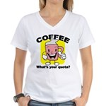 Coffee Quota Women's V-Neck T-Shirt