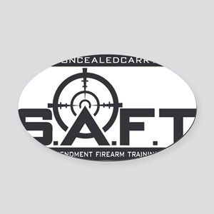 SAFT Black Logo with Web Address Oval Car Magnet