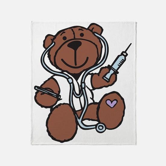 Doctor Teddy Throw Blanket