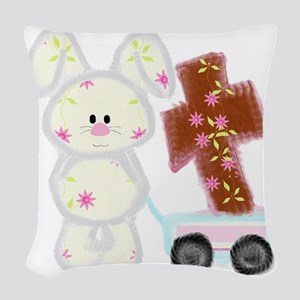 Bunny with a cross Woven Throw Pillow