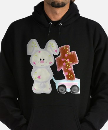 Bunny with a cross Hoodie (dark)