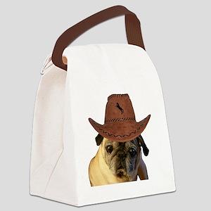 Funny Cowboy Pug Dog Canvas Lunch Bag