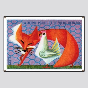 The Young Hen and The Old Fox Matchbox Labe Banner