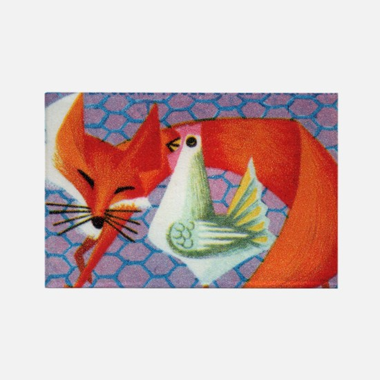 The Young Hen and The Old Fox Mat Rectangle Magnet