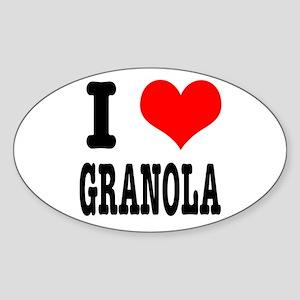 I Heart (Love) Granola Oval Sticker