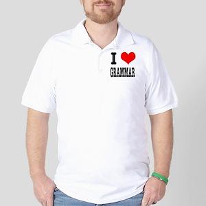 I Heart (Love) Grammar Golf Shirt
