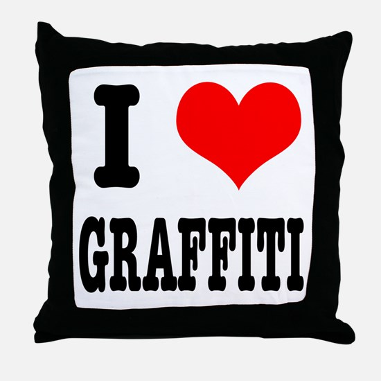 I Heart (Love) Graffiti Throw Pillow