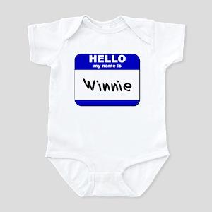 hello my name is winnie  Infant Bodysuit