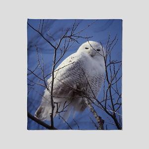 Snowy Owl - White Bird against a Sap Throw Blanket