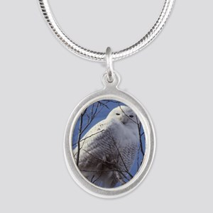 Snowy White Owl Silver Oval Necklace