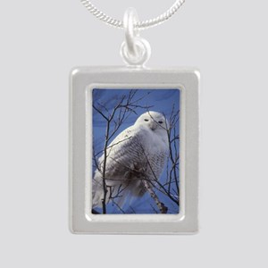 Snowy White Owl Silver Portrait Necklace
