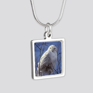 Snowy White Owl Silver Square Necklace
