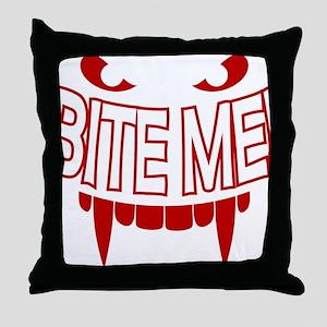 Bite Me Vampire Teeth Throw Pillow