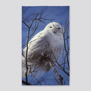 Snowy Owl - White Bird against a Sa 3'x5' Area Rug