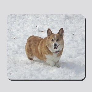 Red and White Corgi in the Snow Mousepad