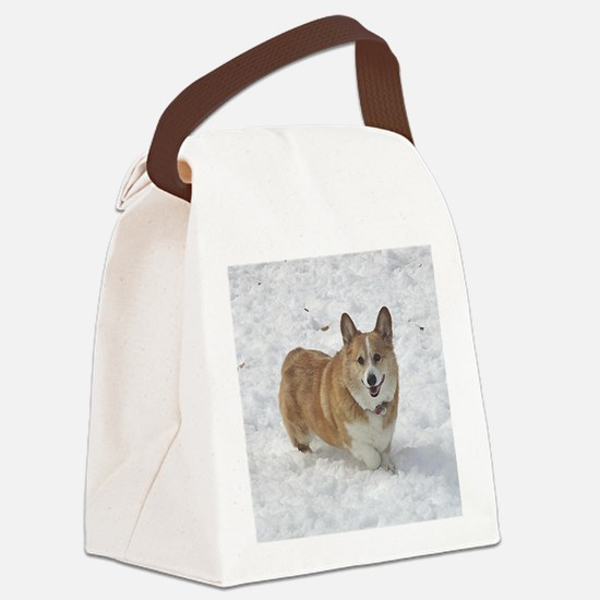 Red and White Corgi in the Snow Canvas Lunch Bag
