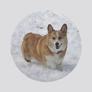 Red and White Corgi in the Snow Round Ornament
