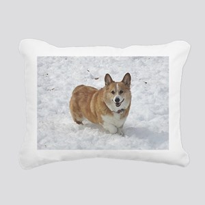 Red and White Corgi in t Rectangular Canvas Pillow