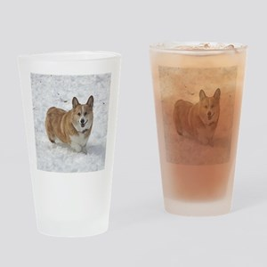 Red and White Corgi in the Snow Drinking Glass