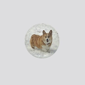 Red and White Corgi in the Snow Mini Button