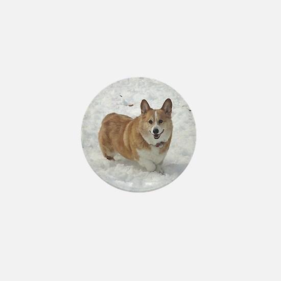 Red and White Corgi in the Snow Mini Button