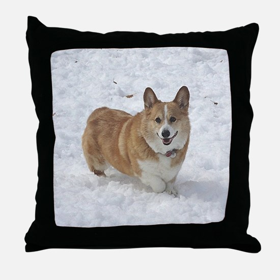 Red and White Corgi in the Snow Throw Pillow