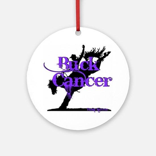 Buck Cancer Round Ornament
