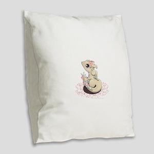 Sakura Dragon Burlap Throw Pillow