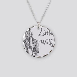 Little Wolf Necklace Circle Charm