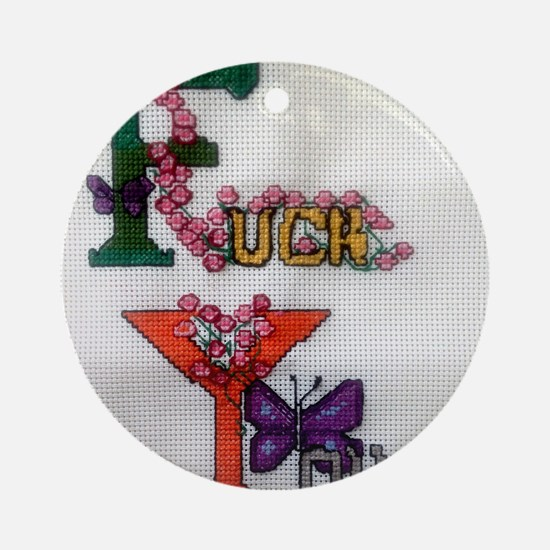 Cross Stitched Fuck You Design Round Ornament